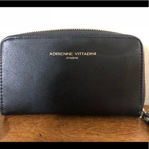 Adrienne Vittadini Black leather wallet clutch